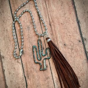 Nwt Handcrafted Western Cactus Suede Fringe Ncklc
